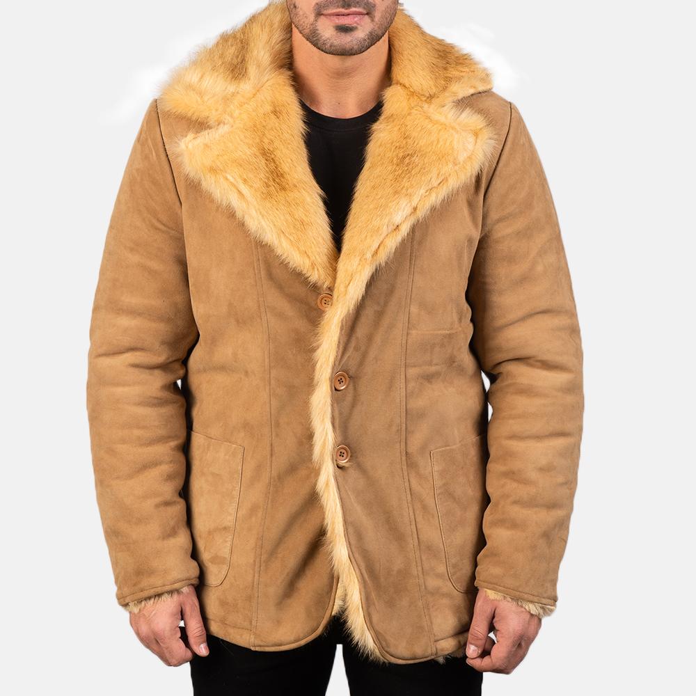 Men's Furlong Beige Leather Coat 4