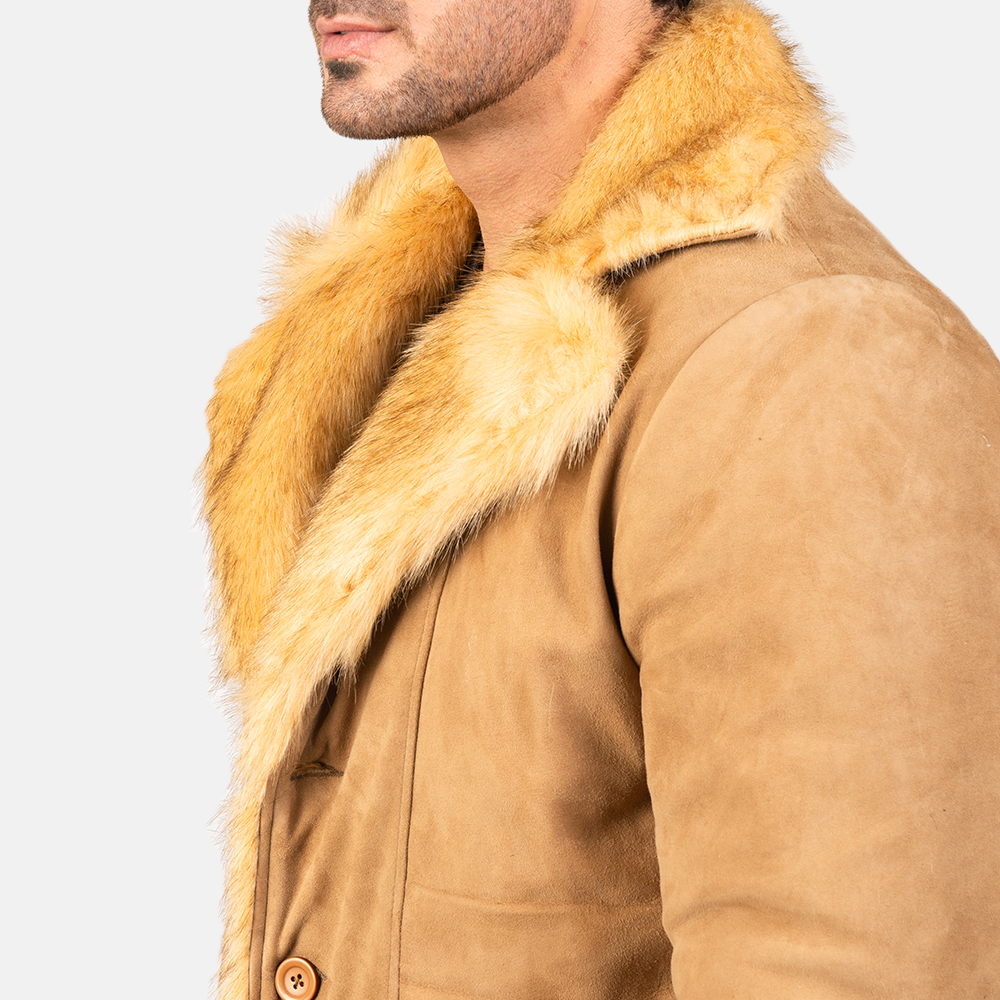 Men's Furlong Beige Leather Coat 6
