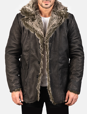 Men's Furlong Black Leather Coat