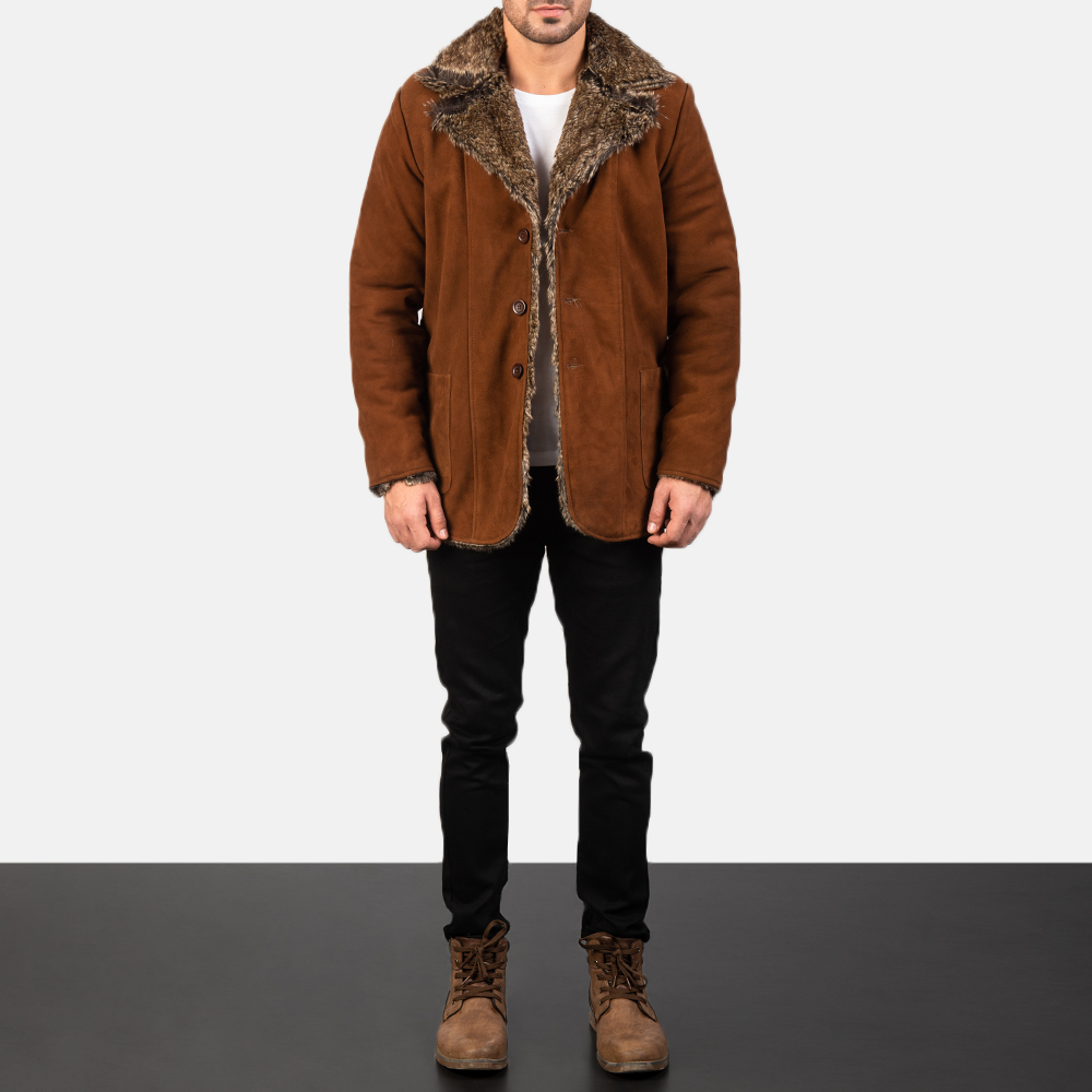 Men's Furlong Brown Leather Coat 1
