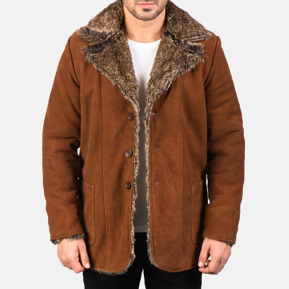 Men's Furlong Brown Leather Coat 3