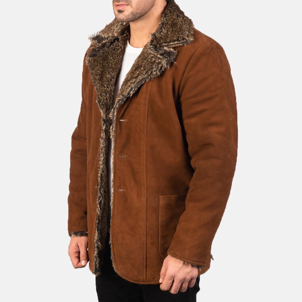 Men's Furlong Brown Leather Coat 2