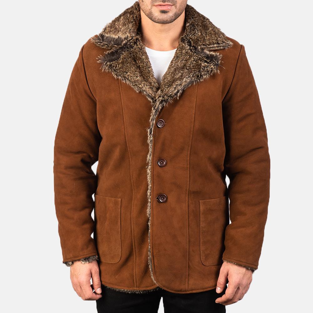 Men's Furlong Brown Leather Coat 4