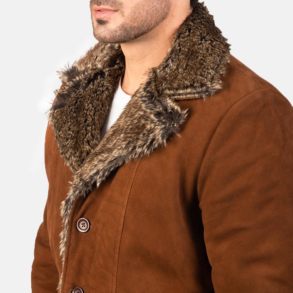 Men's Furlong Brown Leather Coat 6