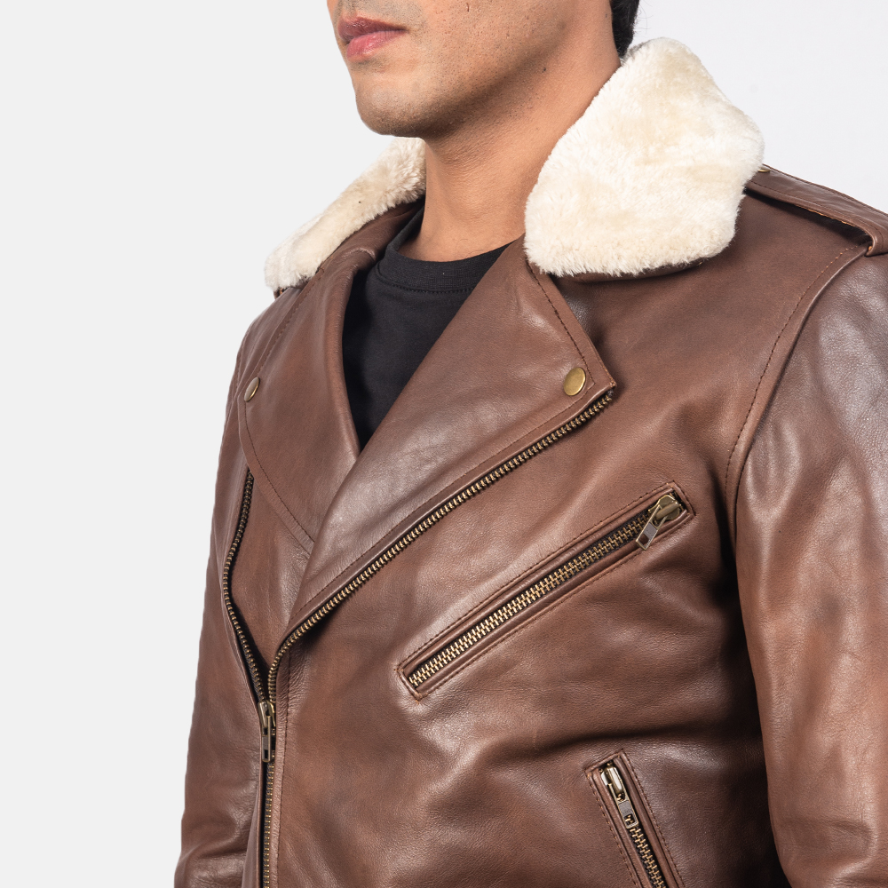 Men's Furton Brown Leather Biker Jacket