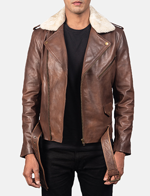 Men's Furton Brown Leather Biker Jacket