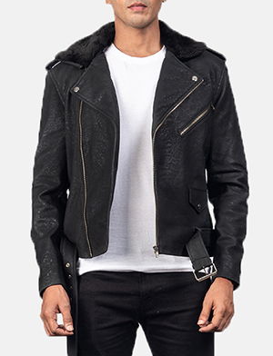 Men's Furton Disressed Black Leather Biker Jacket