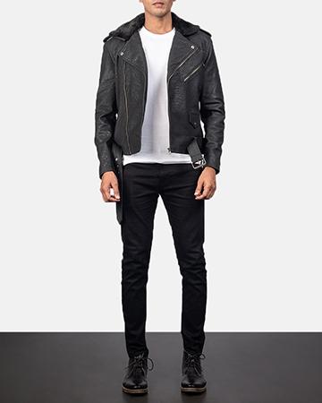 Men's Furton Disressed Black Leather Biker Jacket