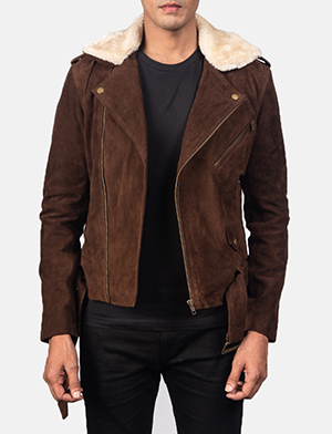 Men's Furton Mocha Brown Suede Biker Jacket
