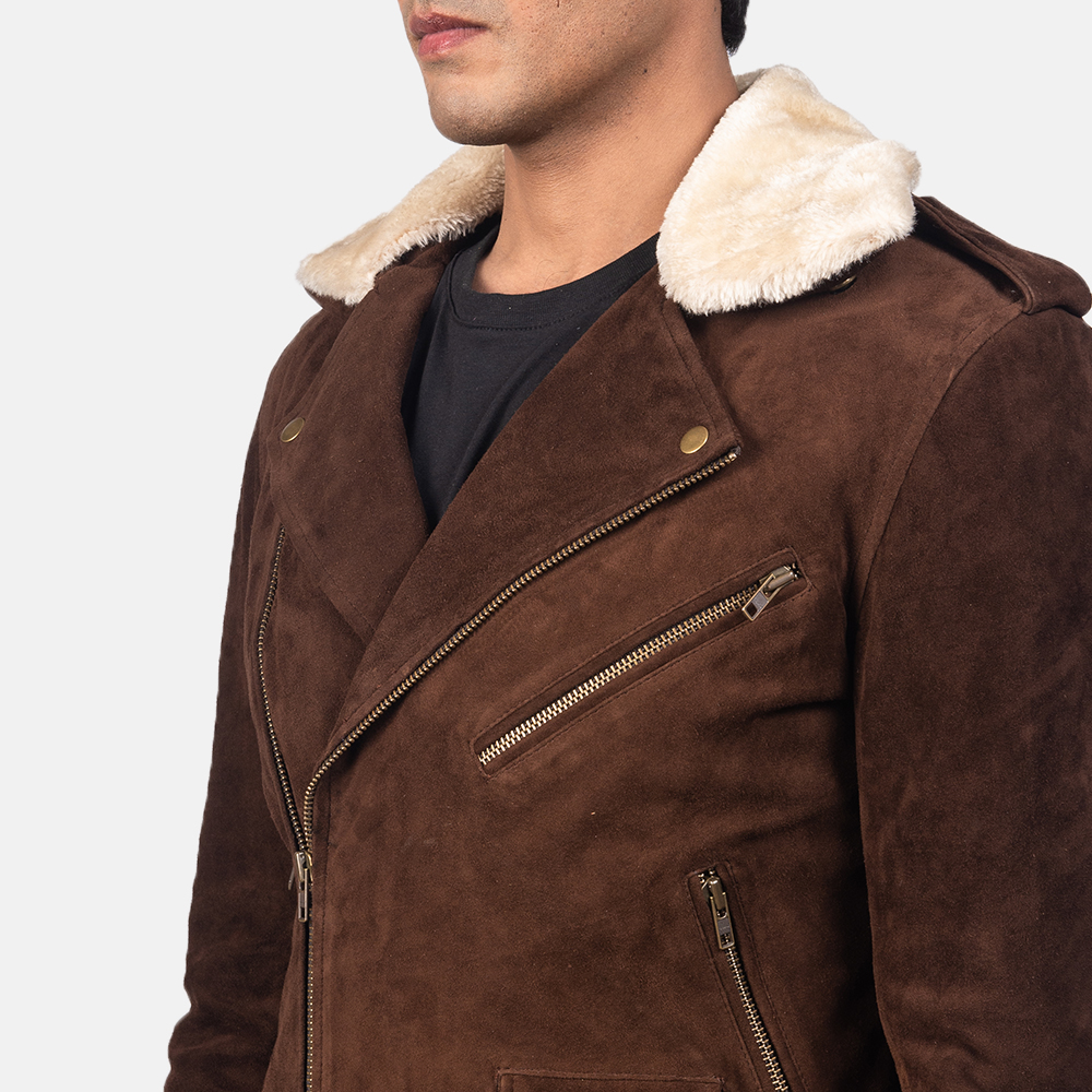 Men's Furton Mocha Suede Biker Jacket
