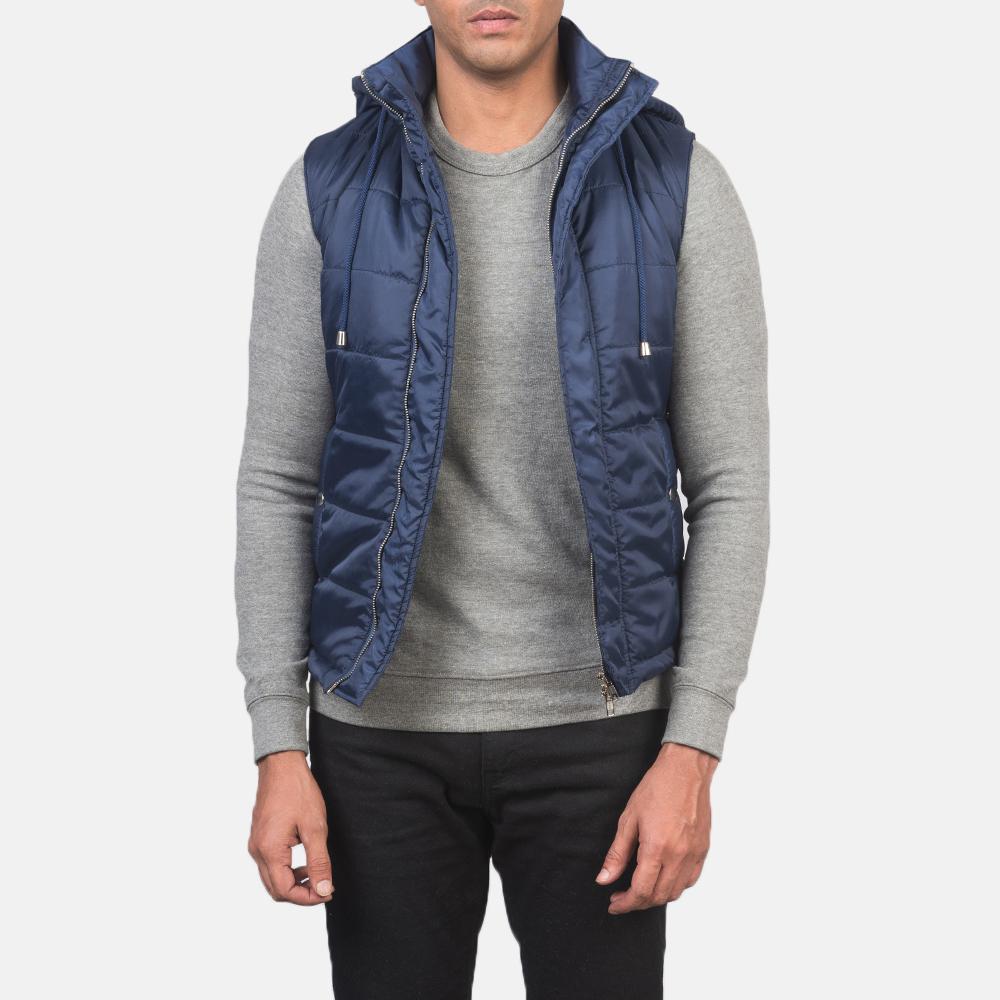 Men's Fuston Blue Hooded Puffer Vest 3
