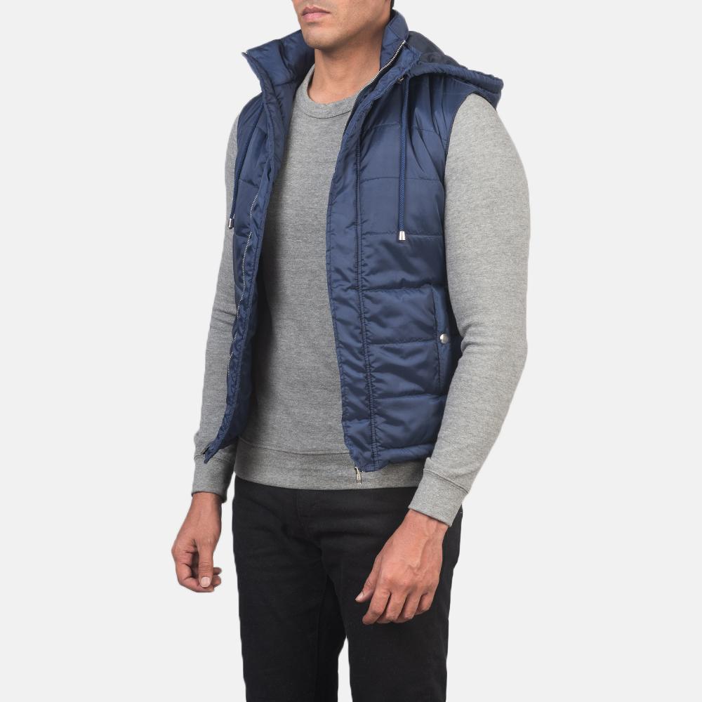Men's Fuston Blue Hooded Puffer Vest 2