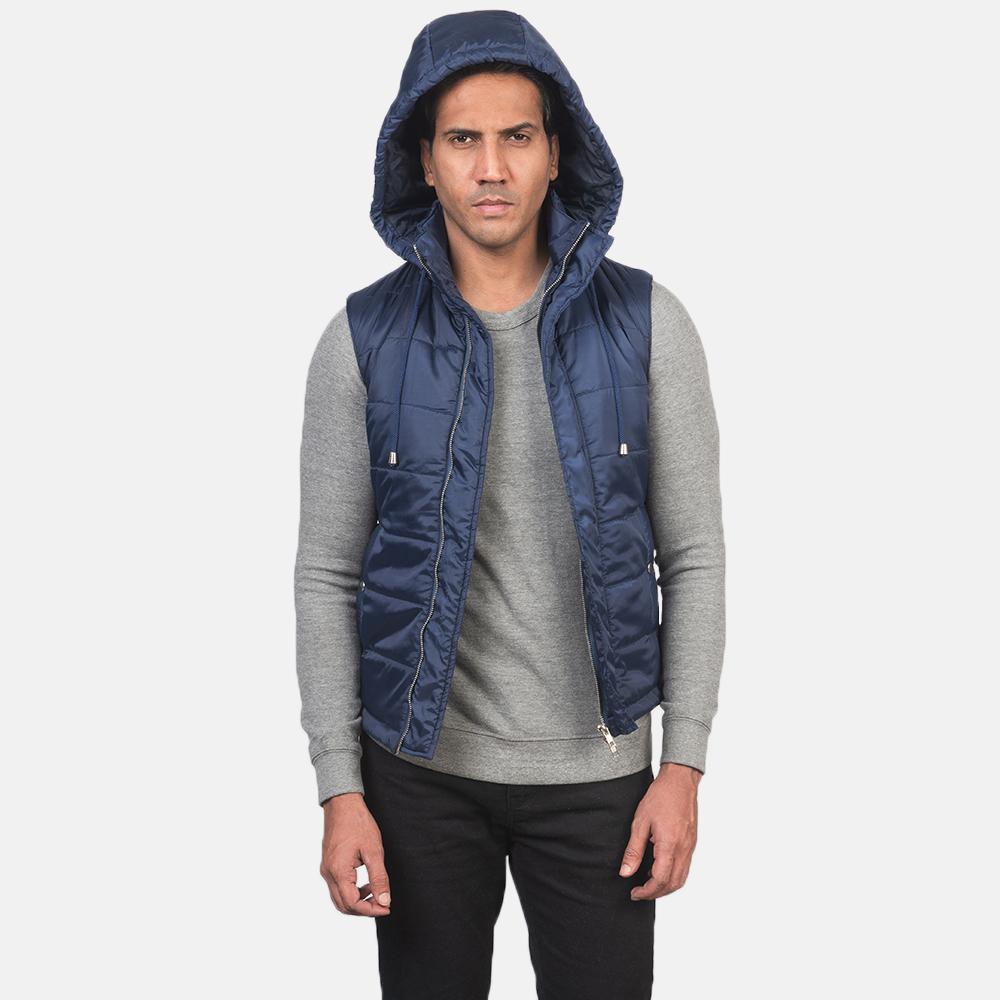 Men's Fuston Blue Hooded Puffer Vest 4