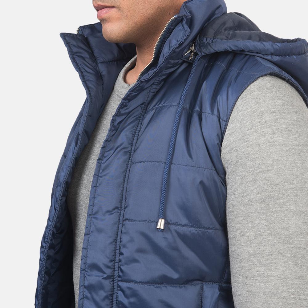 Men's Fuston Blue Hooded Puffer Vest 6