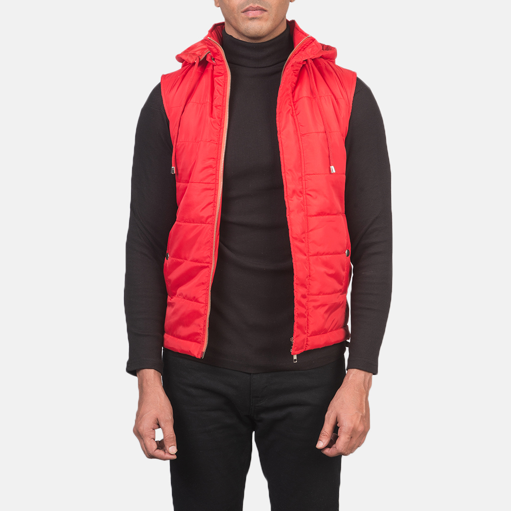 Men's Fuston Red Hooded Puffer Vest 3