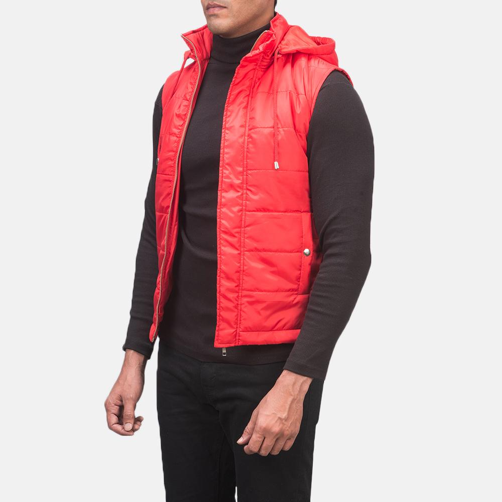 Men's Fuston Red Hooded Puffer Vest 2