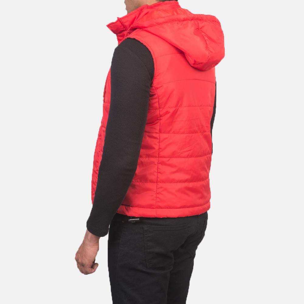 Men's Fuston Red Hooded Puffer Vest 5