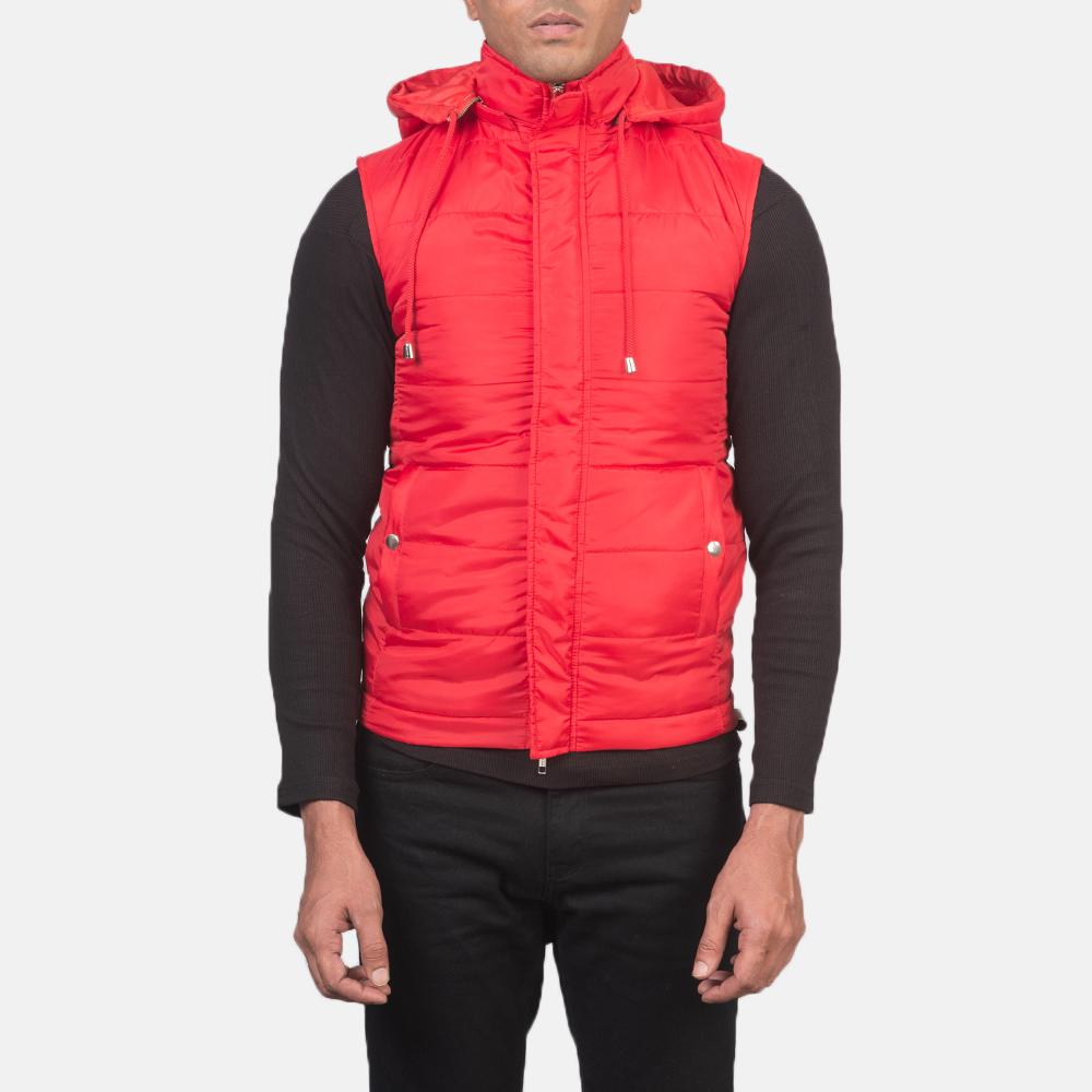 Men's Fuston Red Hooded Puffer Vest 4