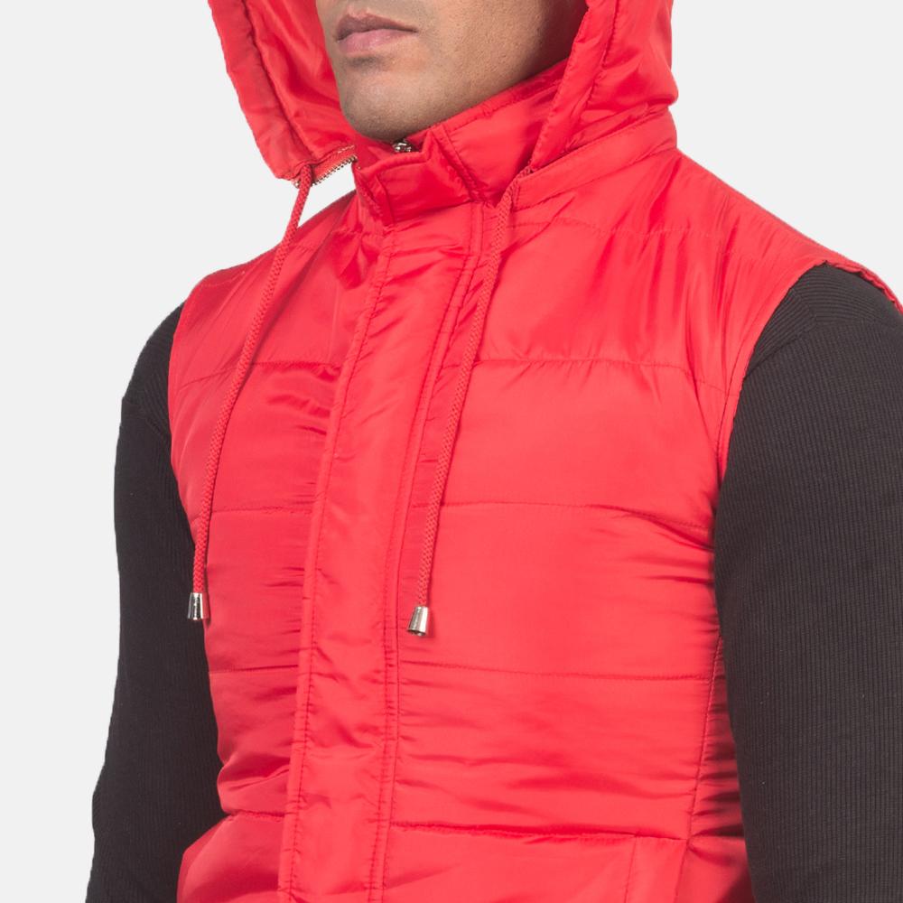 Men's Fuston Red Hooded Puffer Vest 6