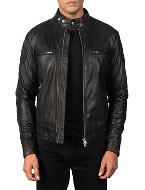 Men's Gatsby Quilted Black Leather Biker Jacket