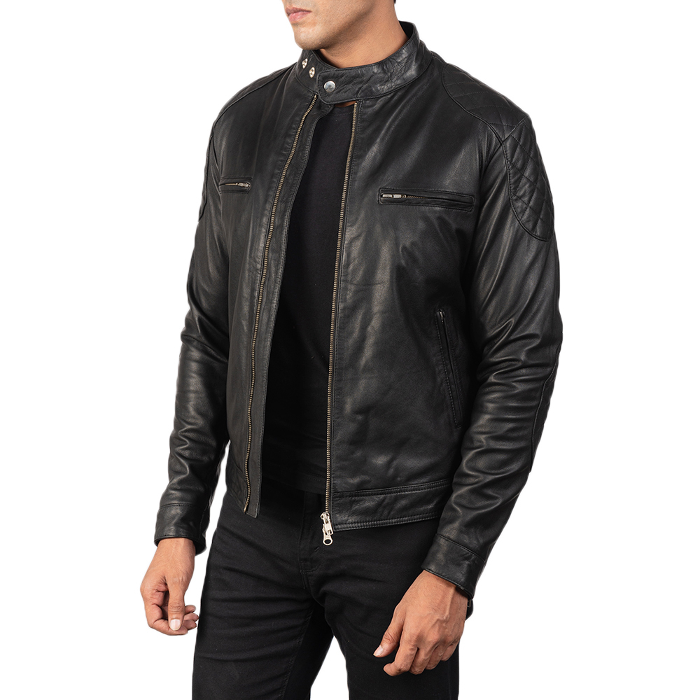 Men's Gatsby Black Leather Biker Jacket