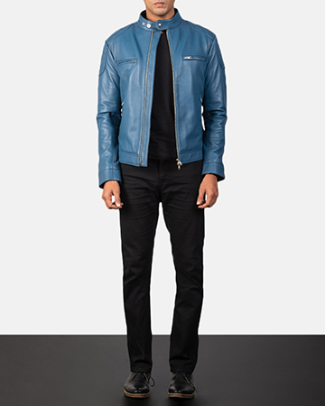 Men's Gatsby Quilted Blue Leather Biker Jacket 1