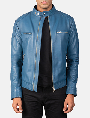 Men's Gatsby Quilted Blue Leather Biker Jacket
