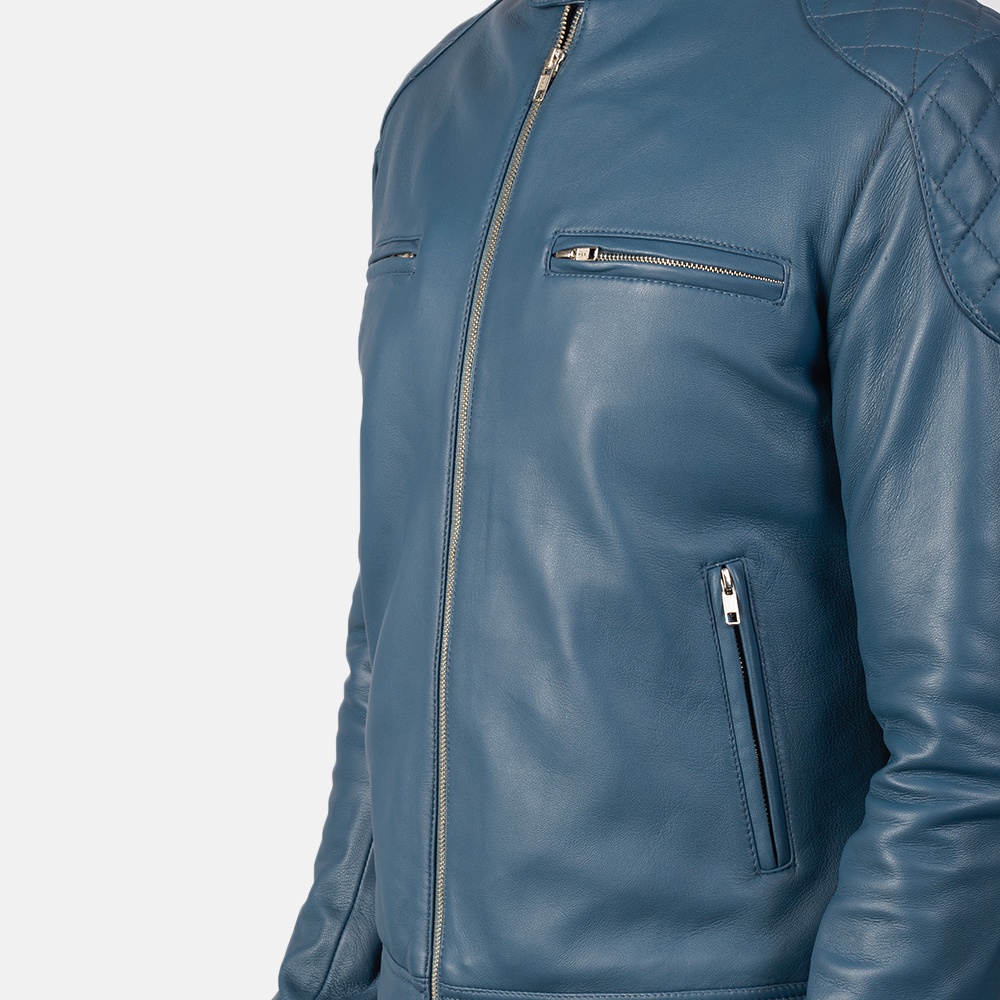 Men's Gatsby Quilted Blue Leather Biker Jacket 6