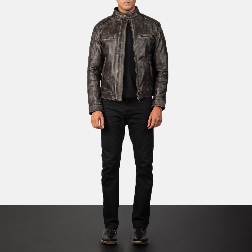 Men's Gatsby Distressed Brown Leather Biker Jacket
