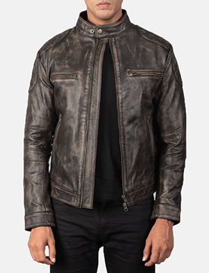 Men's Gatsby Quilted Distressed Brown Leather Jacket