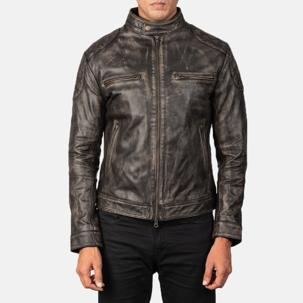 Men's Gatsby Distressed Brown Leather Biker Jacket