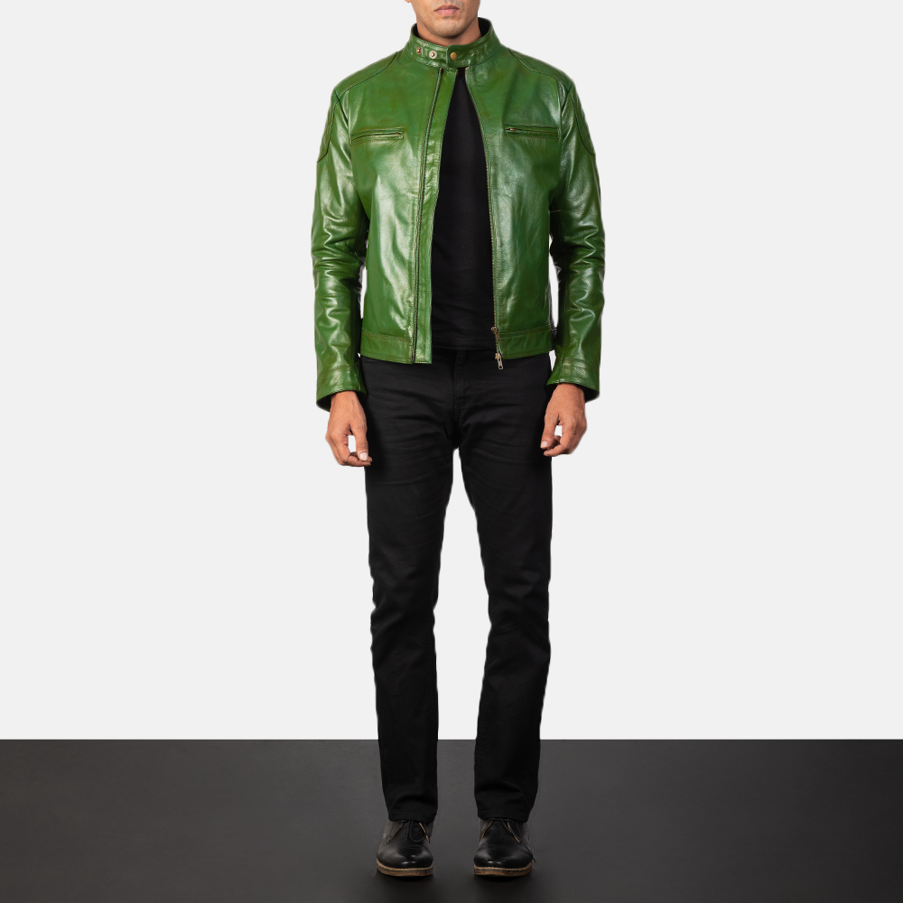 Men's Gatsby Quilted Green Leather Biker Jacket 1