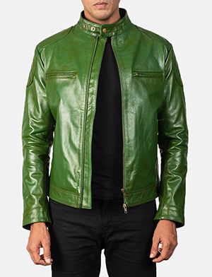 Men's Gatsby Quilted Green Leather Biker Jacket