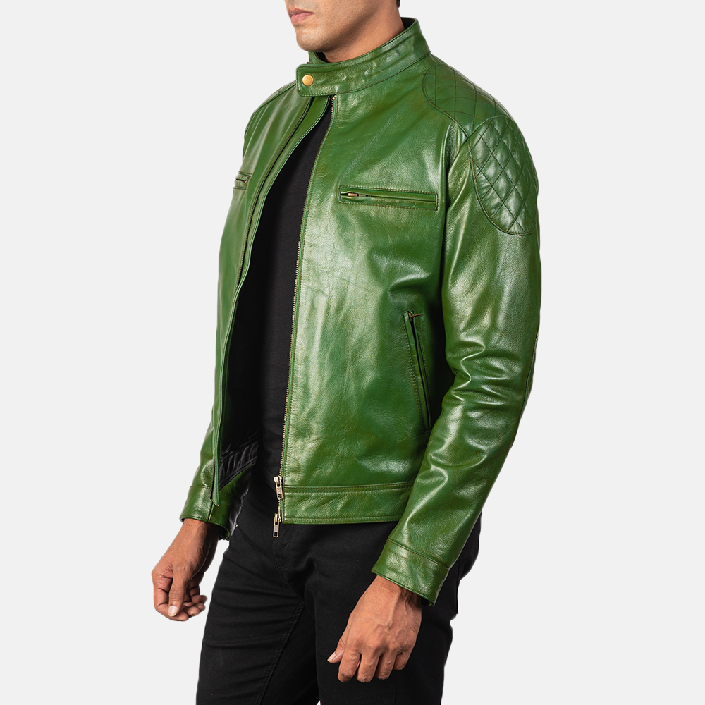 Men's Gatsby Quilted Green Leather Biker Jacket 2