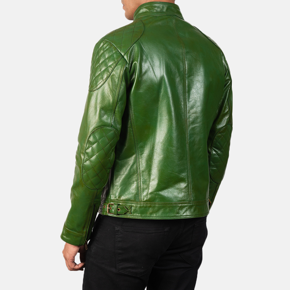 Men's Gatsby Quilted Green Leather Biker Jacket 5