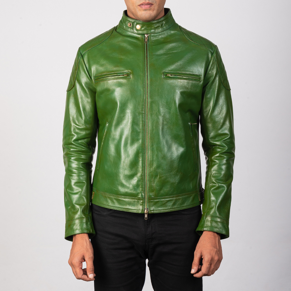 Men's Gatsby Quilted Green Leather Biker Jacket 4