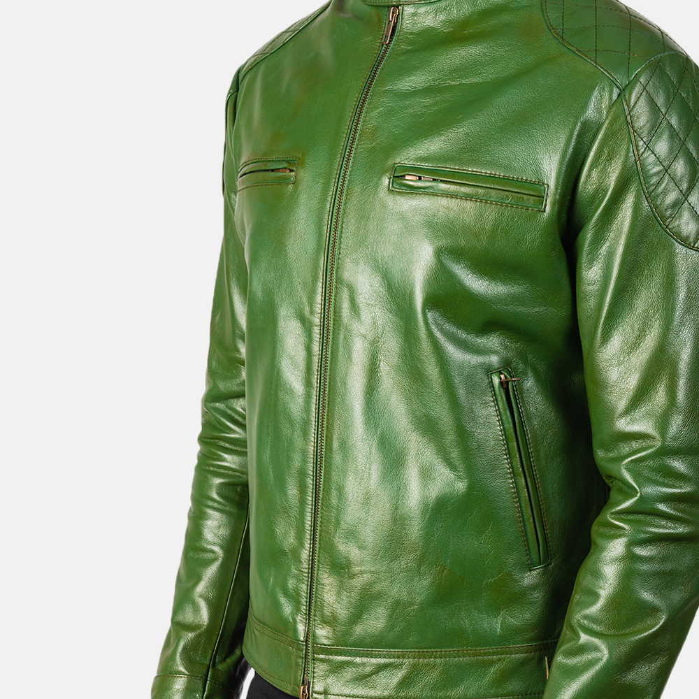 Men's Gatsby Quilted Green Leather Biker Jacket 6