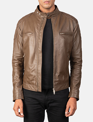 Men's Gatsby Quilted Mocha Brown Leather Biker Jacket