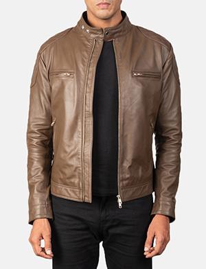 Men's Gatsby Quilted Mocha Brown Leather Biker Jacket