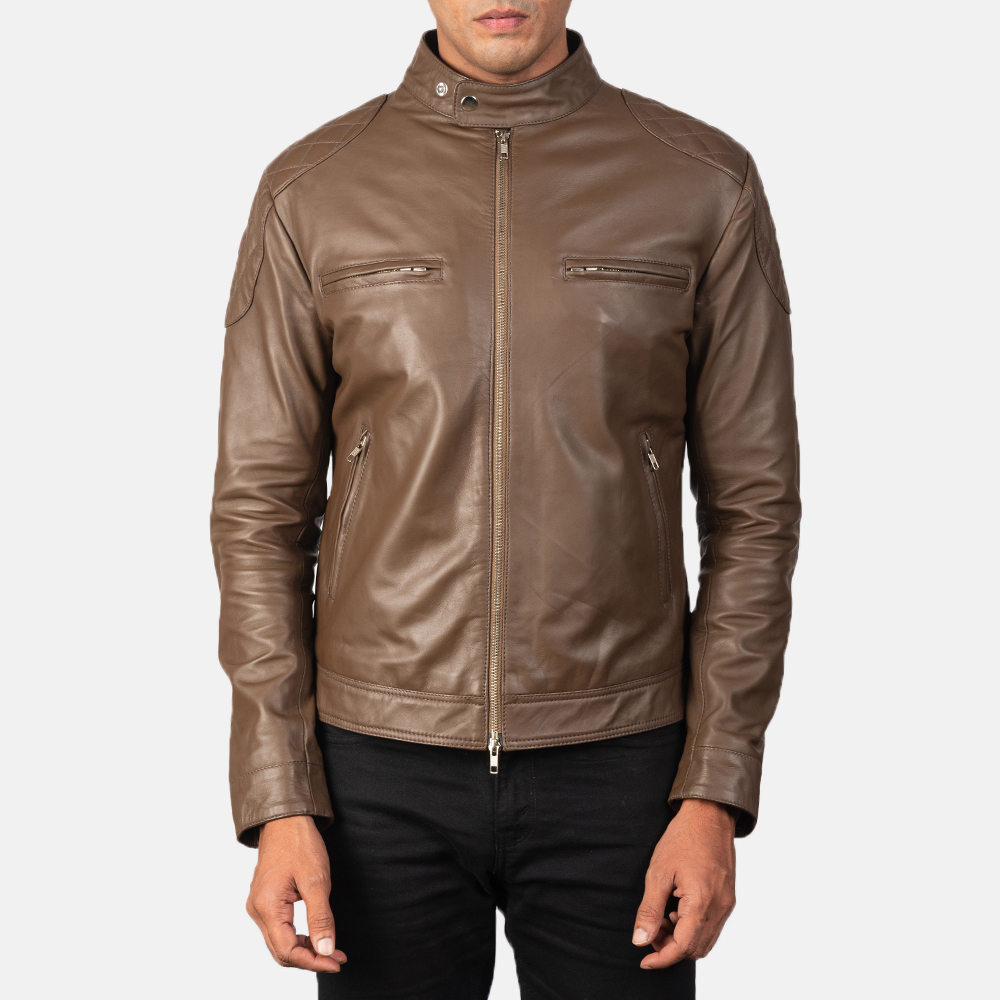 Men's Gatsby Mocha Brown Leather Biker Jacket