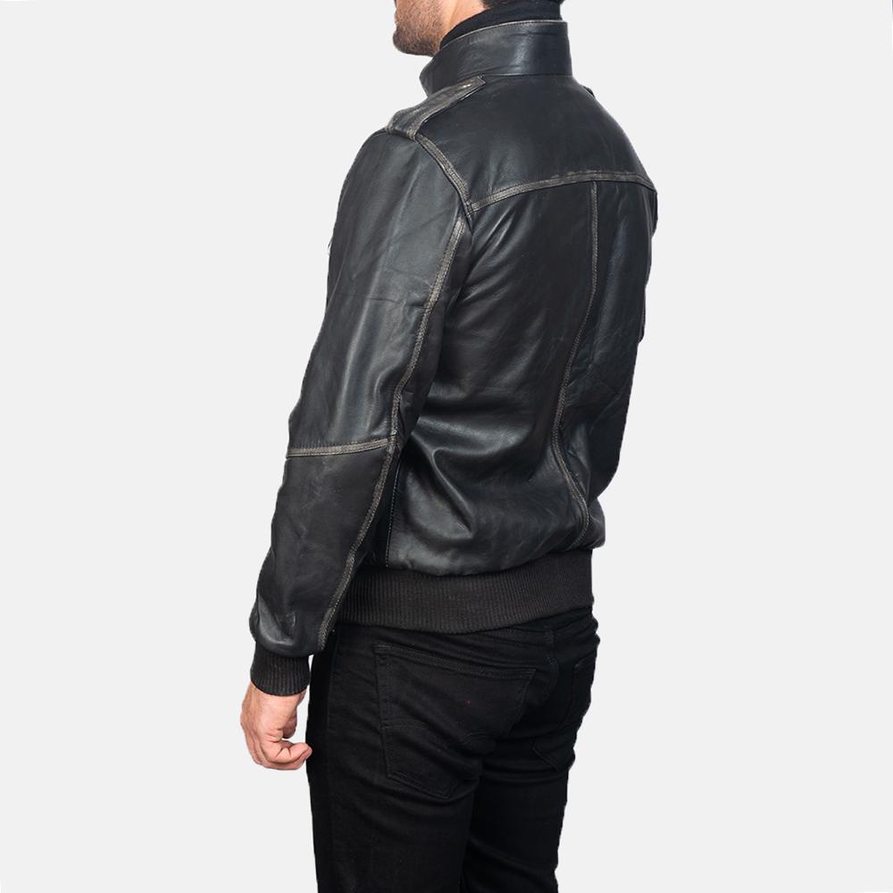Mens Glen Street Black Leather Bomber Jacket 5