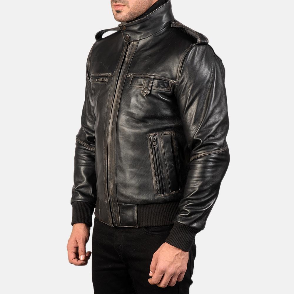 Mens Glen Street Black Leather Bomber Jacket 2