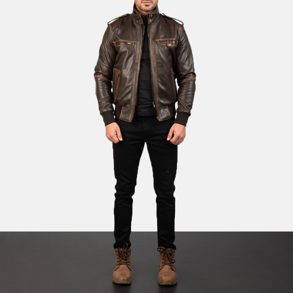 Mens Glen Street Brown Leather Bomber Jacket 1