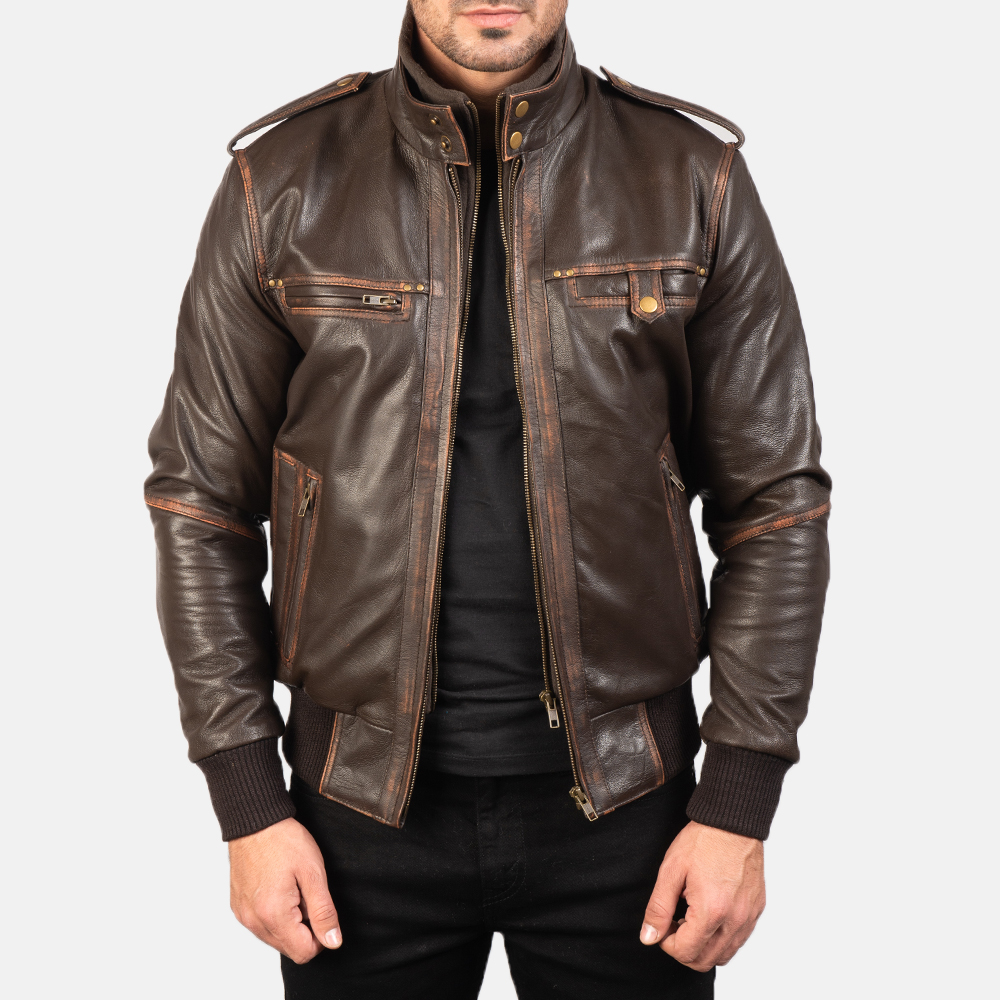 Mens Glen Street Brown Leather Bomber Jacket 3