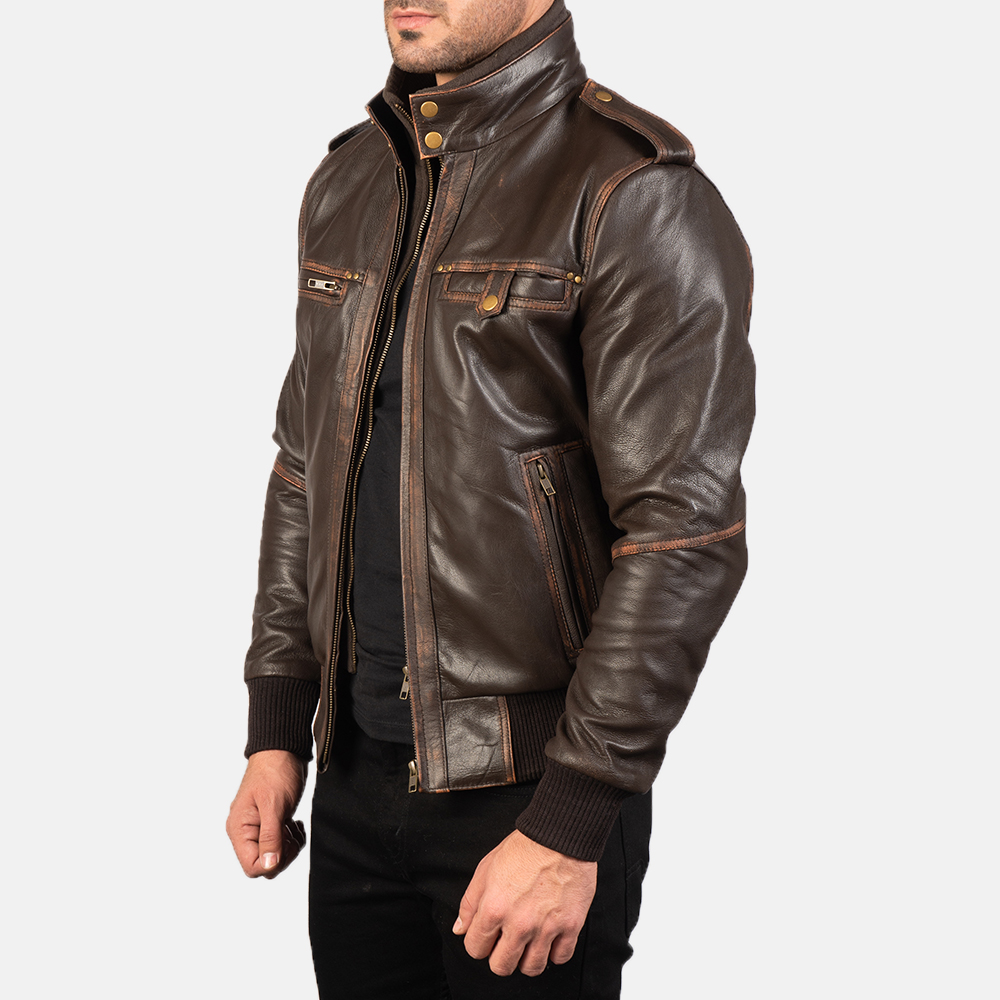 Mens Glen Street Brown Leather Bomber Jacket 2