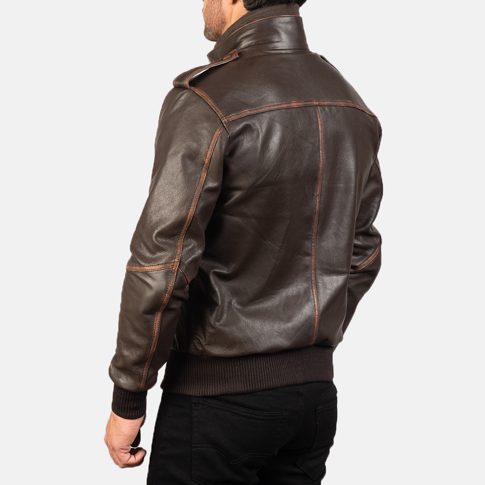 Mens Glen Street Brown Leather Bomber Jacket 5