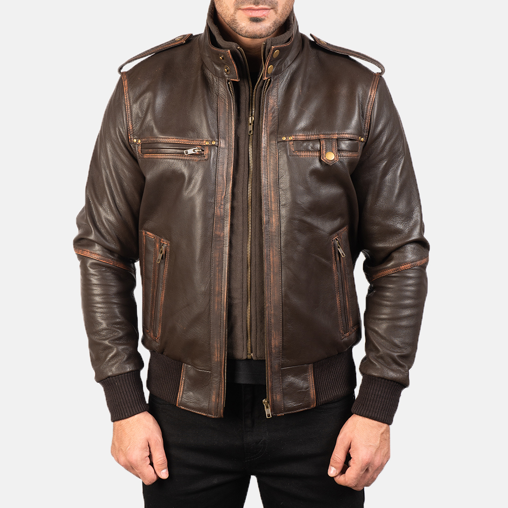 Mens Glen Street Brown Leather Bomber Jacket 4
