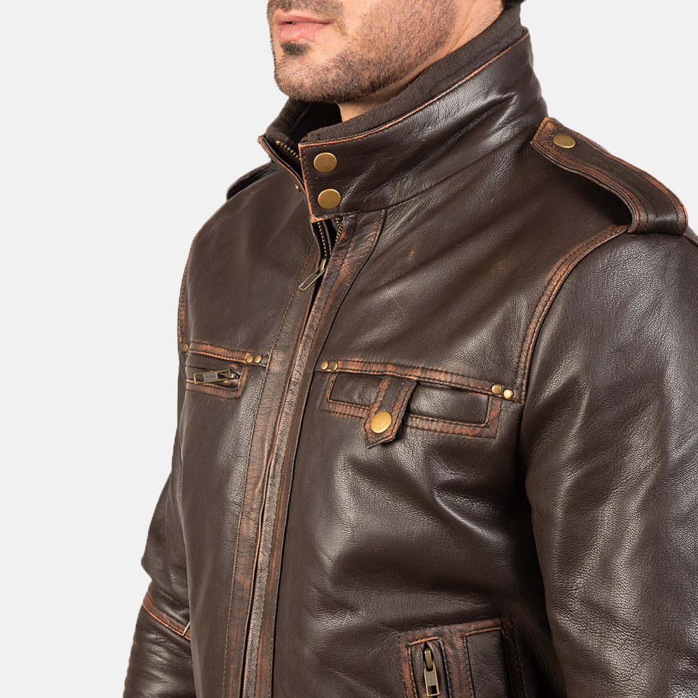 Mens Glen Street Brown Leather Bomber Jacket 6