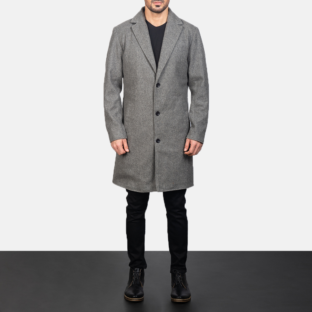 Men's Grey Wool Single Breasted Coat 1