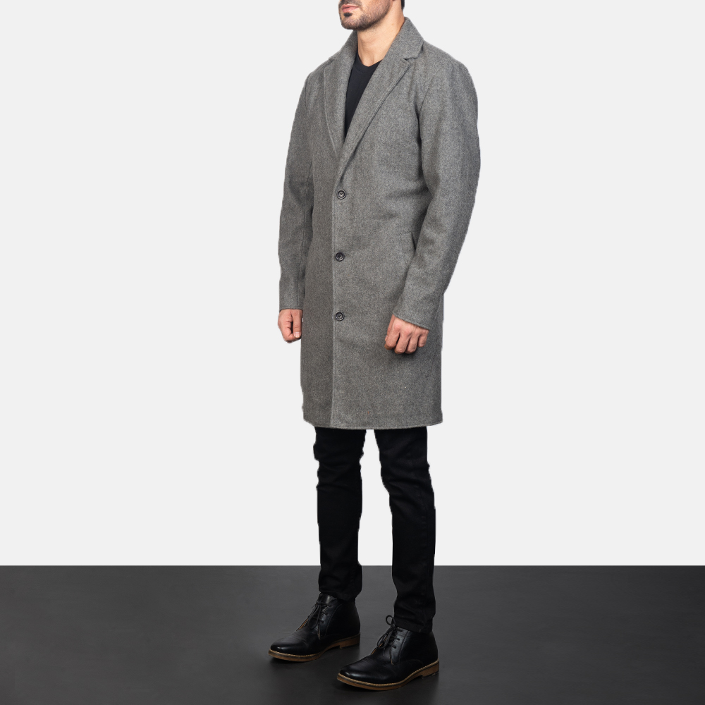 Men's Grey Wool Single Breasted Coat 2